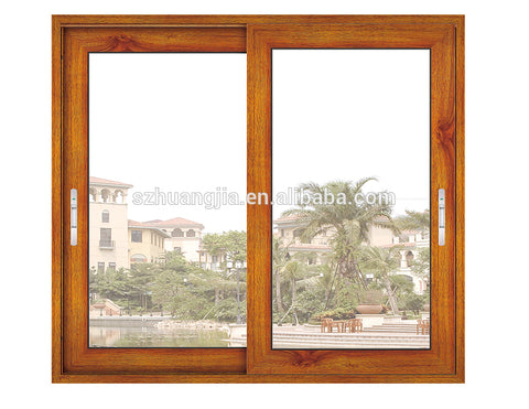 wood texture aluminum frame horizontal glass sliding window on China WDMA