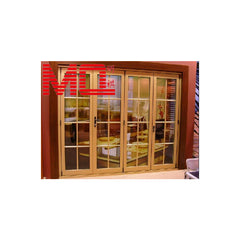 wooden color cheap interior folding doors for balcony with grill design MQ-227 on China WDMA