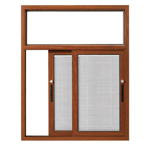 wooden grain frame aluminum sliding window built in blinds on China WDMA