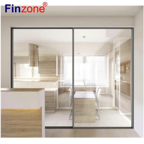 worldwide fancy trend soundproof light slide moving thermal break bridge aluminum slim frame sliding door with glass on China WDMA