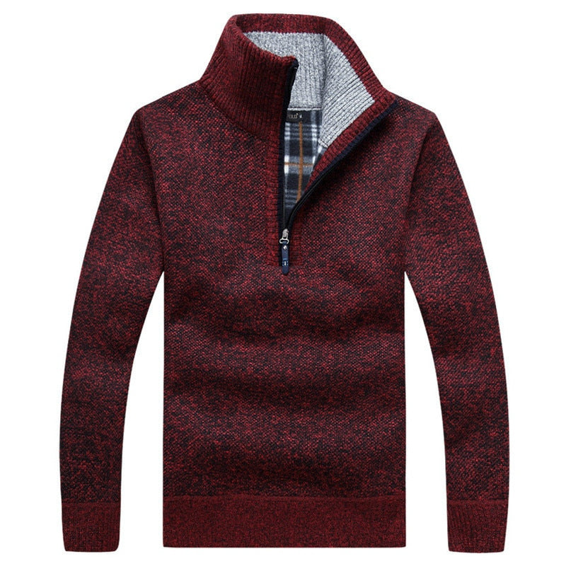 Men's Autumn Long Sleeve Pullover Turtleneck Sweaters Half Zip Warm Fleece