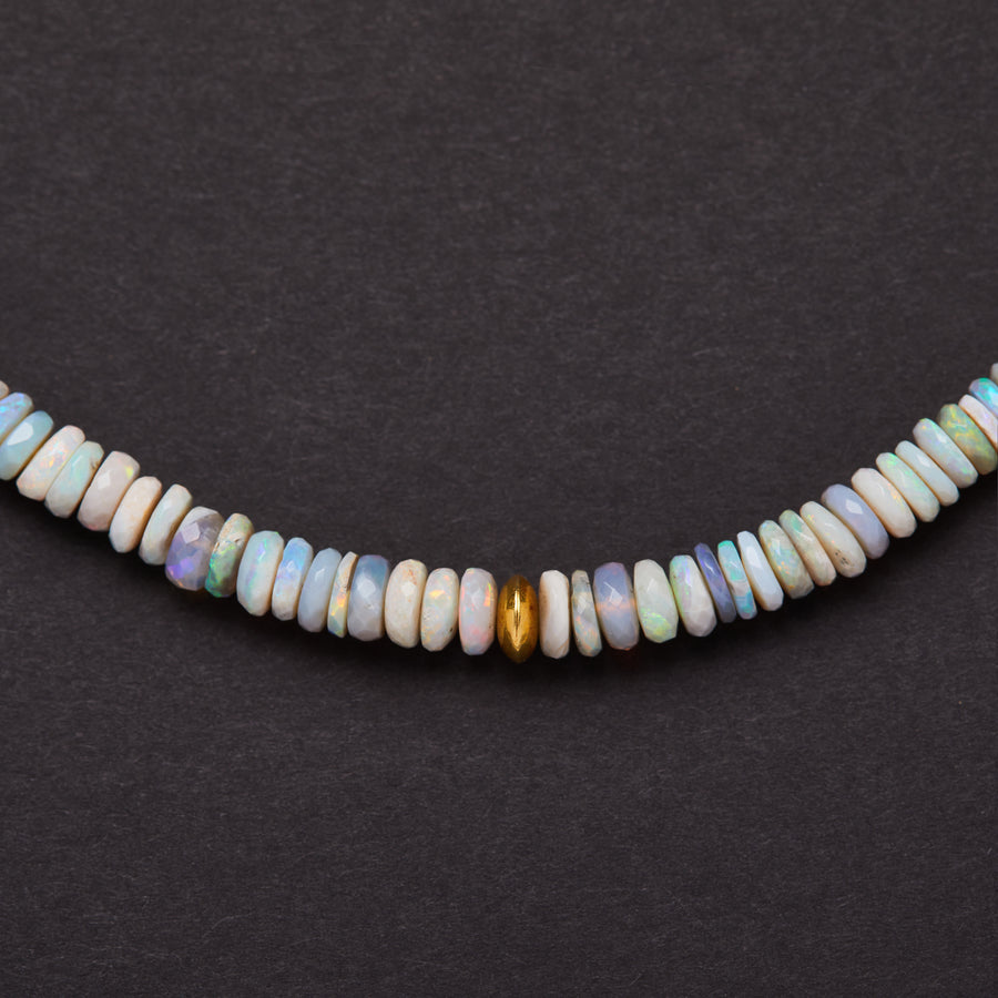 Australian Opal and Gold Bead Necklace ( Light Purple Hue)