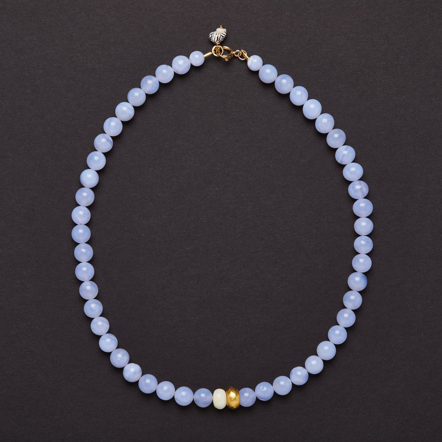 Blue Agate, gold and Ethiopian Opal Necklace
