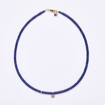 Lapis Lazuli and Diamond Charm Necklace