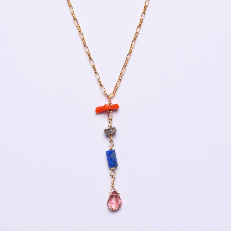 Pink Sapphire, diamond, lapis and coral Pendant necklace (small)