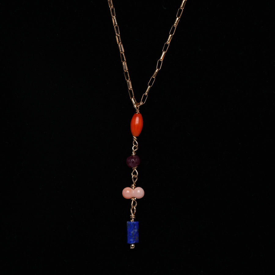 Lapis, Ruby and Coral Pendant necklace  (small)