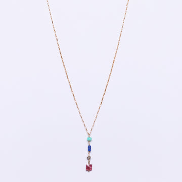 Peruvian opal, lapis lazuli, diamond and pink tourmaline pendant necklace (small)