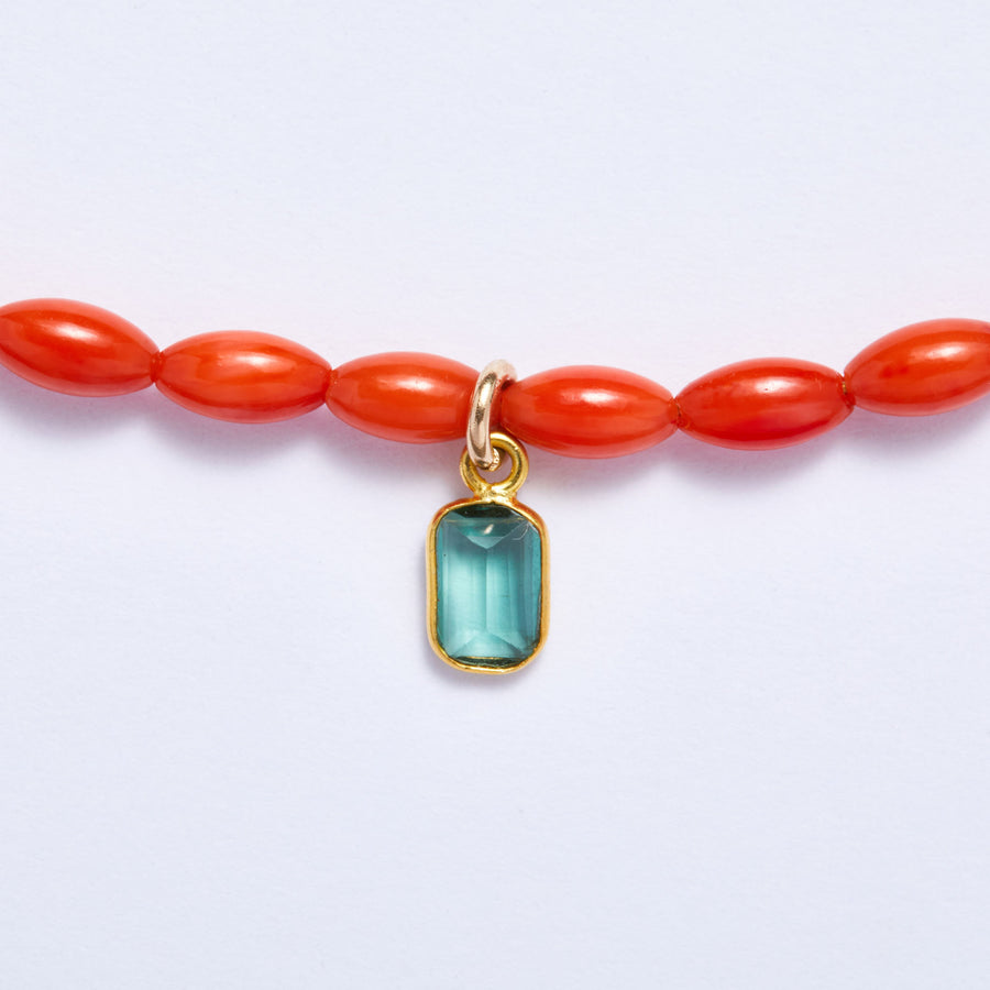 Coral Necklace with Tourmaline Charm