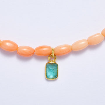 Coral Necklace with Emerald Charm