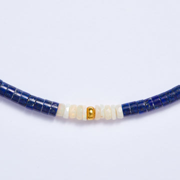 Lapis Lazuli Gold Bead and Opal Necklace