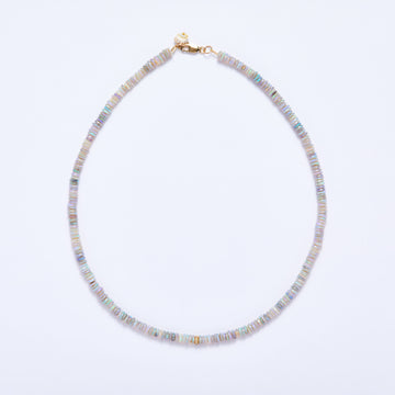 Australian Opal and Diamond Necklace (Purple Hue)