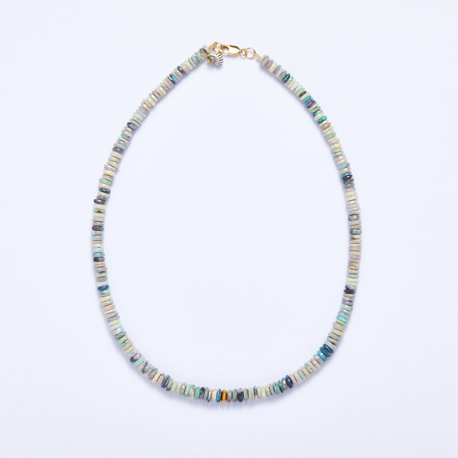 Australian Opal and Gold Necklace (Blue-Green Hue)