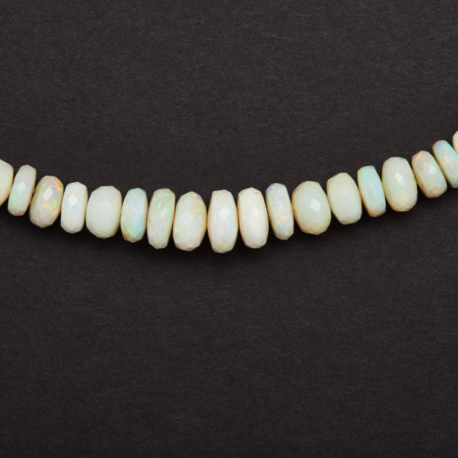 Australian Opal Necklace, White ( Green Flash)