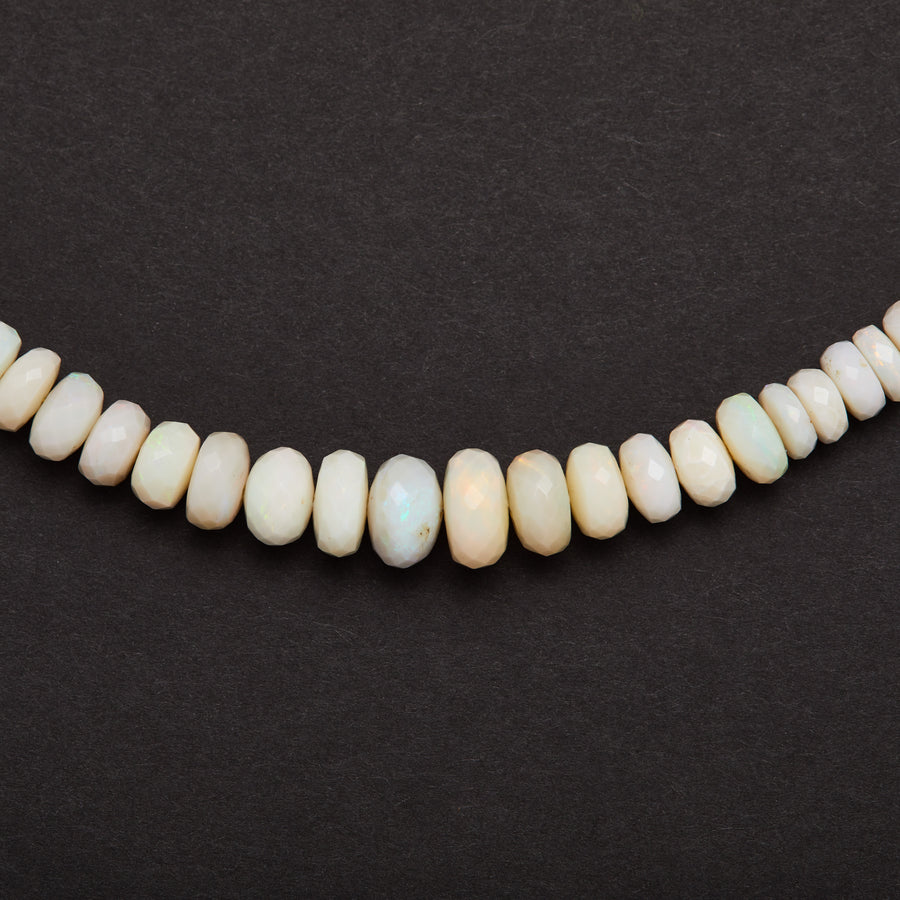 Australian opal Necklace ( Faceted-White)