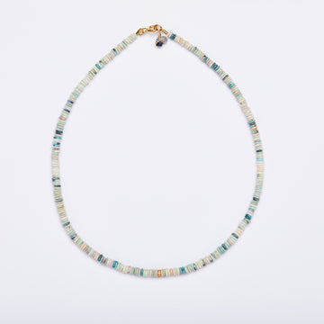 Australian Opal and Diamond Necklace   ( Blue-Green-Small)