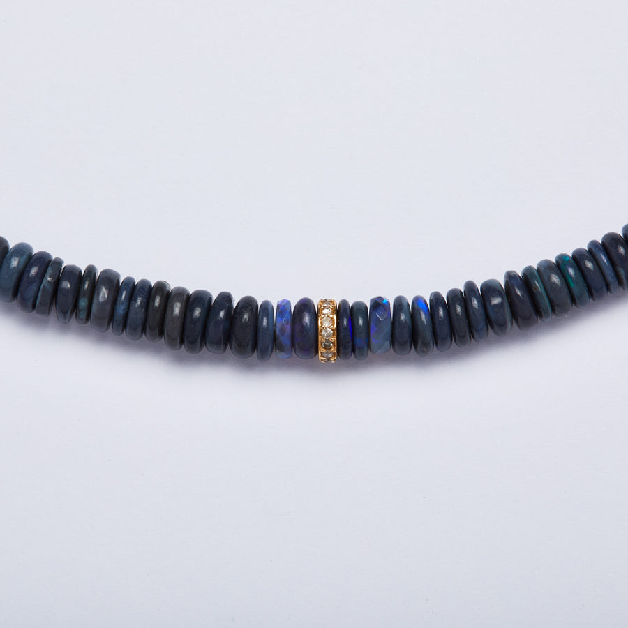 Australian Opal and Diamond Necklace (Blue)