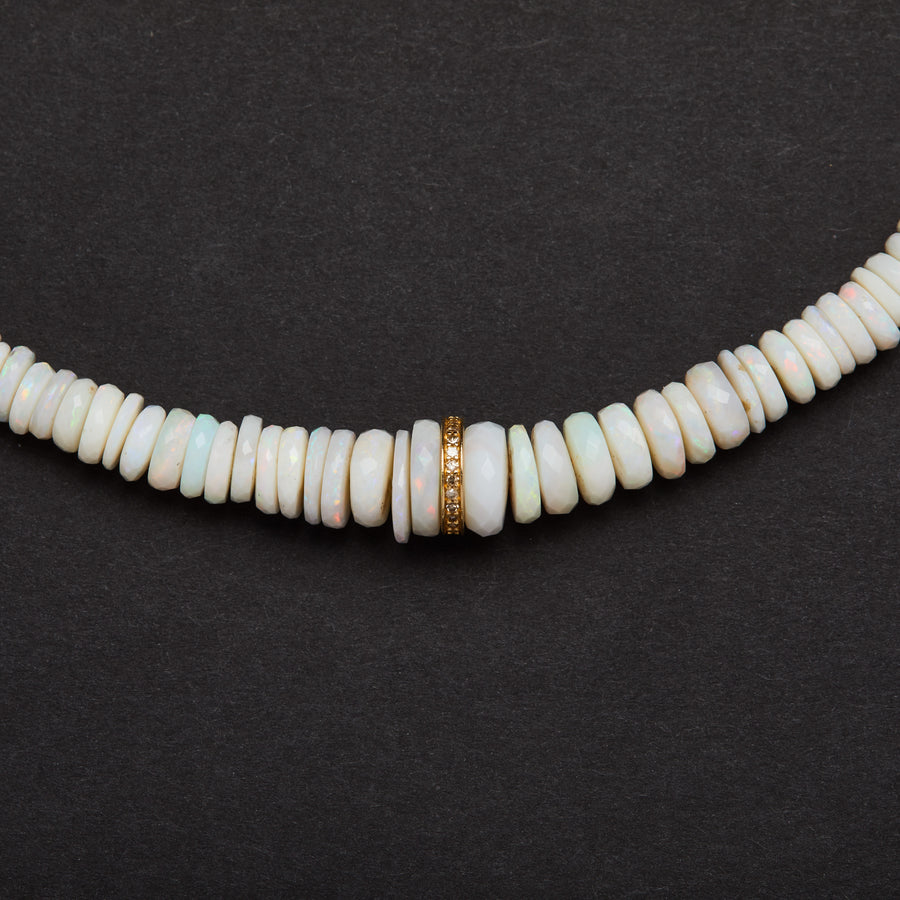 Australian opal and Diamond Necklace (Heishi)