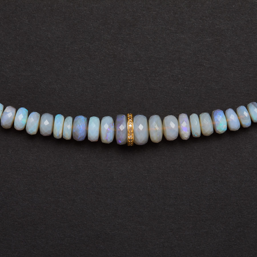 Australian opal and Diamond Necklace ( Blue-Grey)