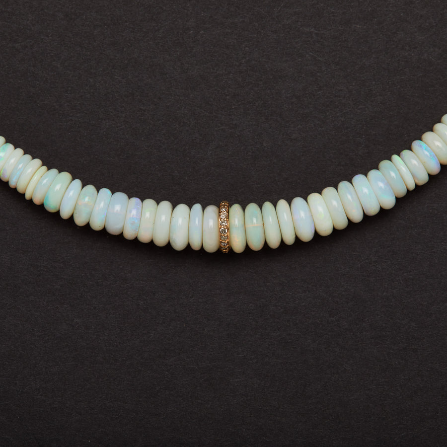 Australian Opal and Diamond Necklace (White)