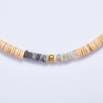 Australian Opal, Gold and Shell Necklace
