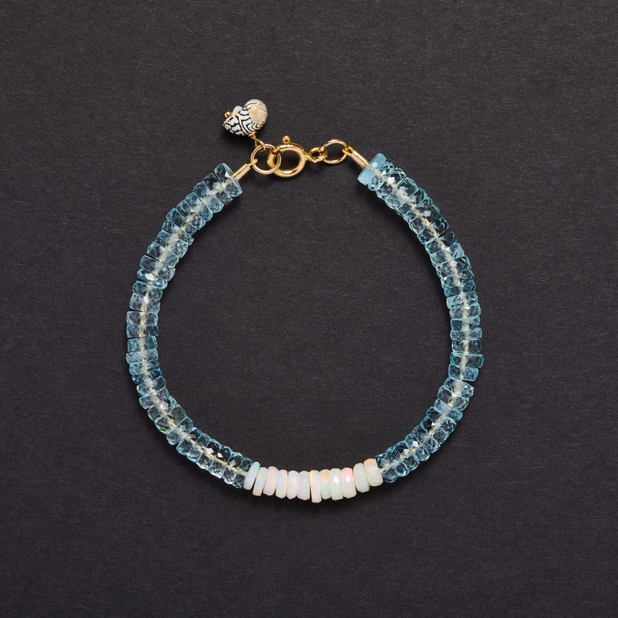 Aquamarine and Opal Bracelet