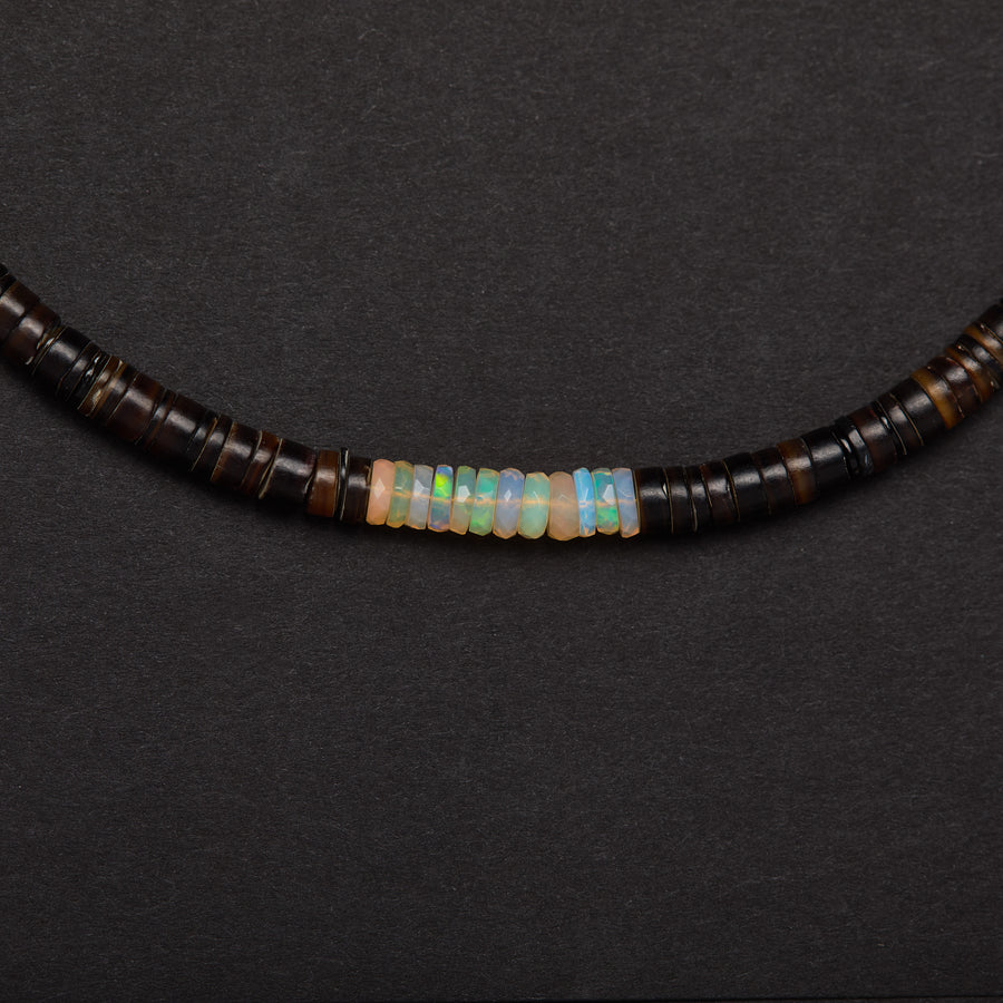 Shell and Opal Necklace ( Brown)