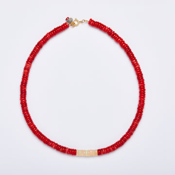 Coral and Opal Necklace ( Large)