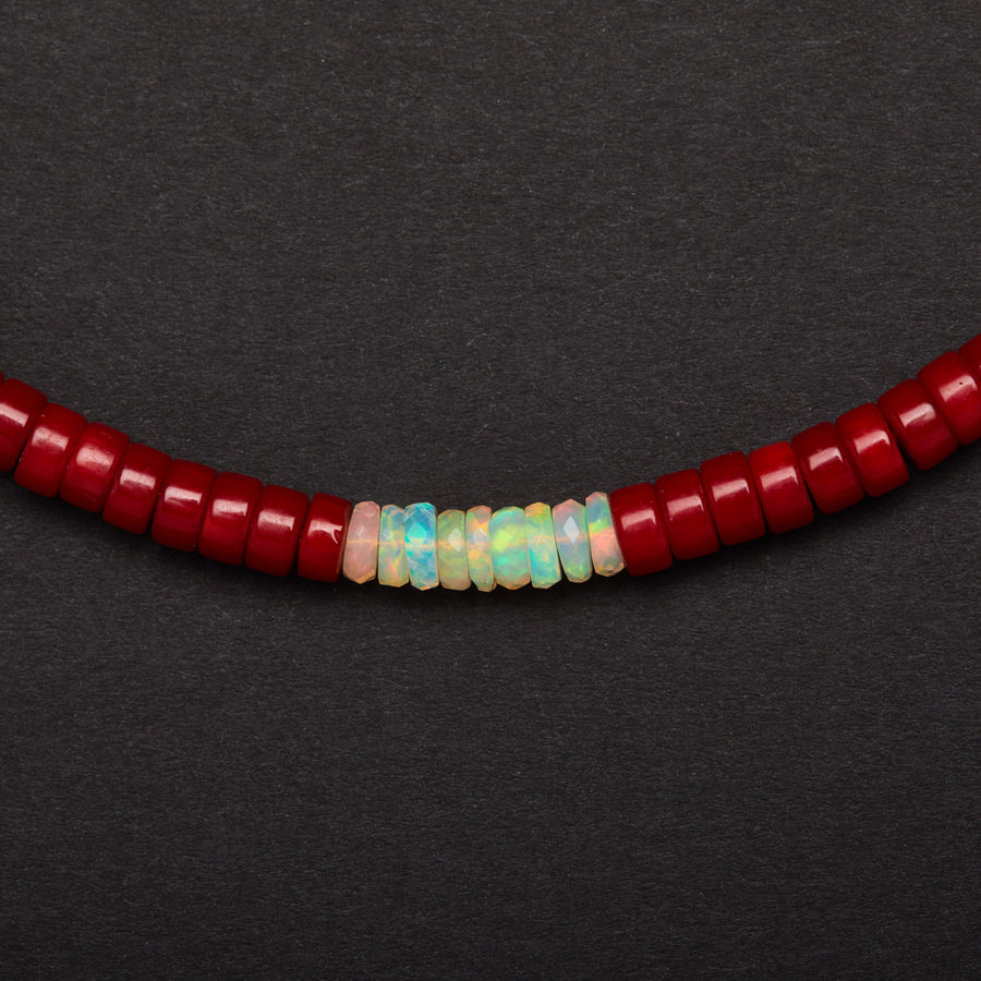 Coral and Opal Necklace-Medium