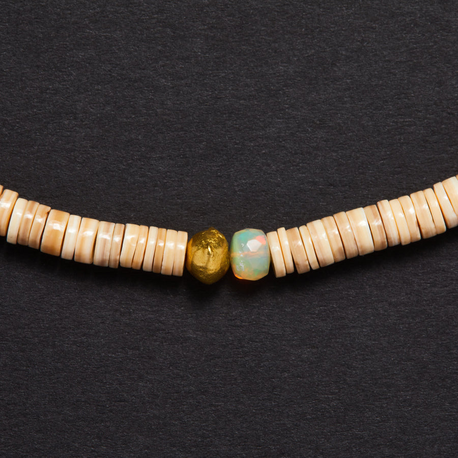 Ethiopian Opal, Gold and Shell Necklace