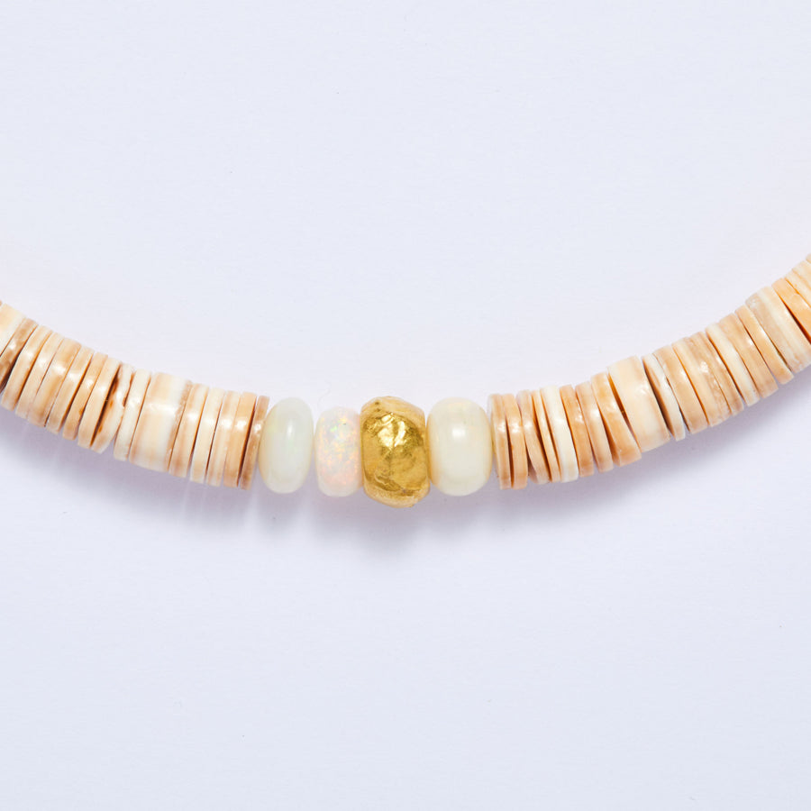 Ethiopian Opal and Shell Necklace