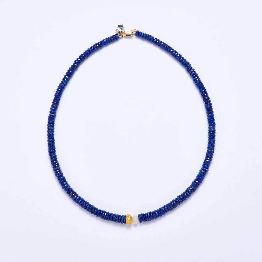Faceted Lapis Lazuli and Opal Necklace