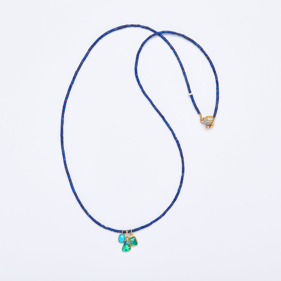 Lapis Lazuli and Gold Gemstone Charms Necklace