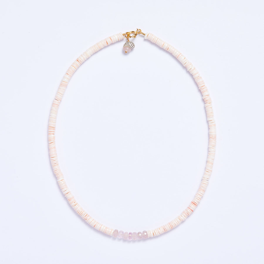 Morganite and Shell Necklace