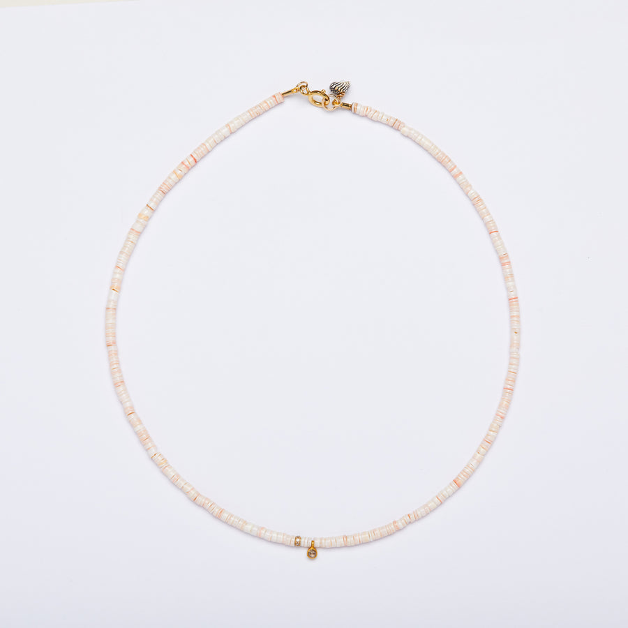Shell and Diamond Necklace (pink)