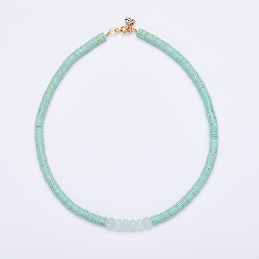 surfer necklace with Faceted Jade, large ( various colors)