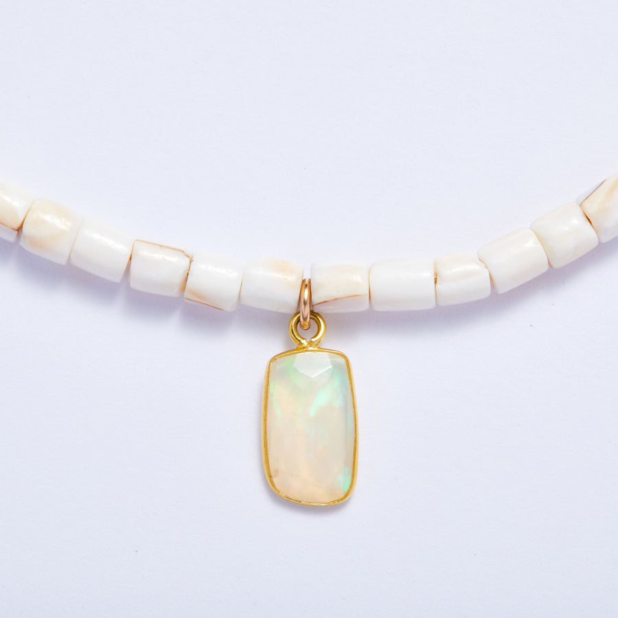 Shell and Opal Slice Necklace