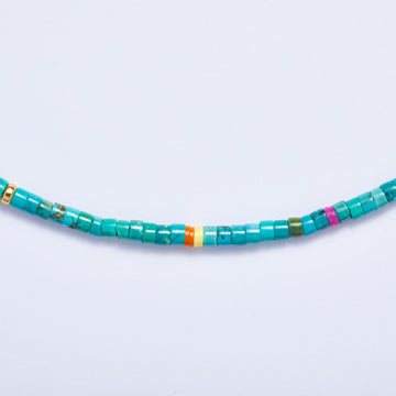 Turquoise Necklace (Orange Accent)