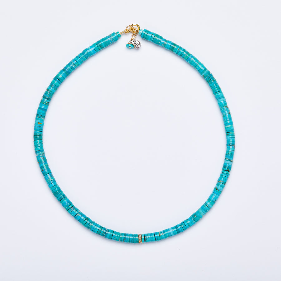 Turquoise and Diamond Bead Necklace
