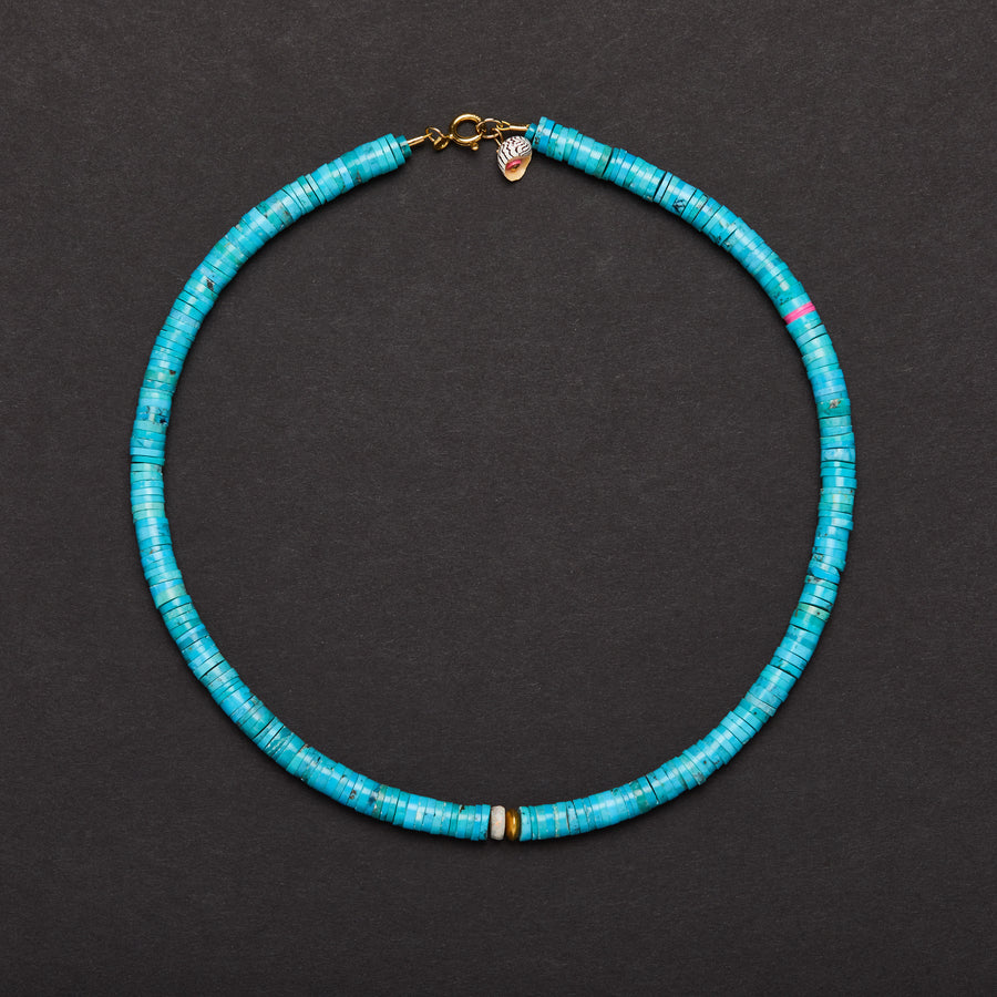 Turquoise, Gold bead and Opal Necklace