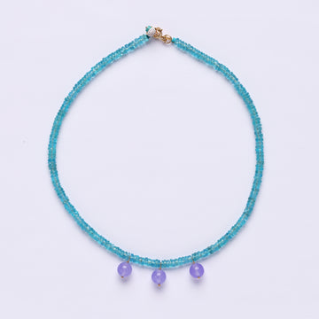 Apatite and Purple chalcedony bocce necklace