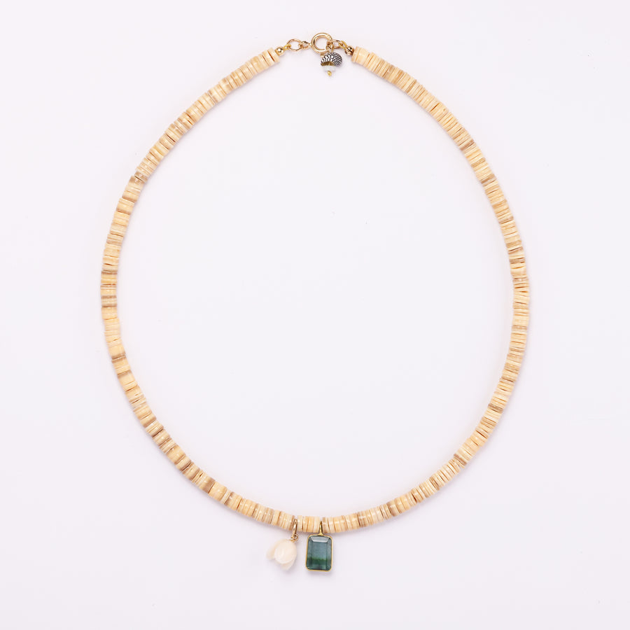 shell, tourmaline and coral necklace