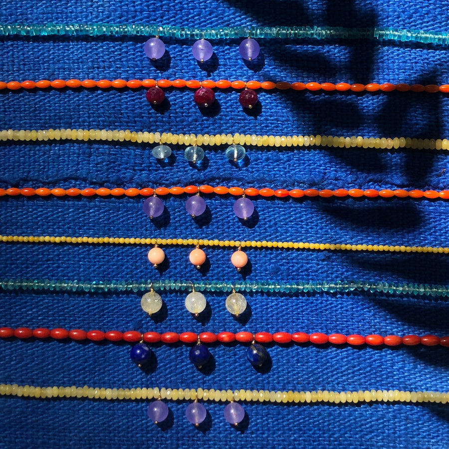 Coral and lapis lazuli Bocce necklace