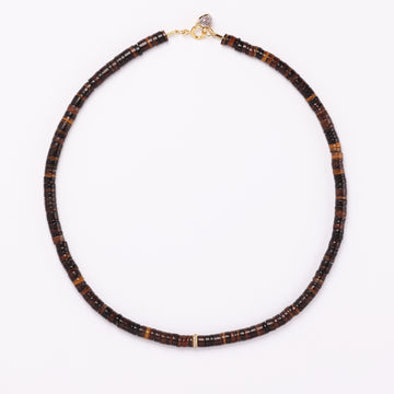 Shell and Diamond Necklace ( Brown)