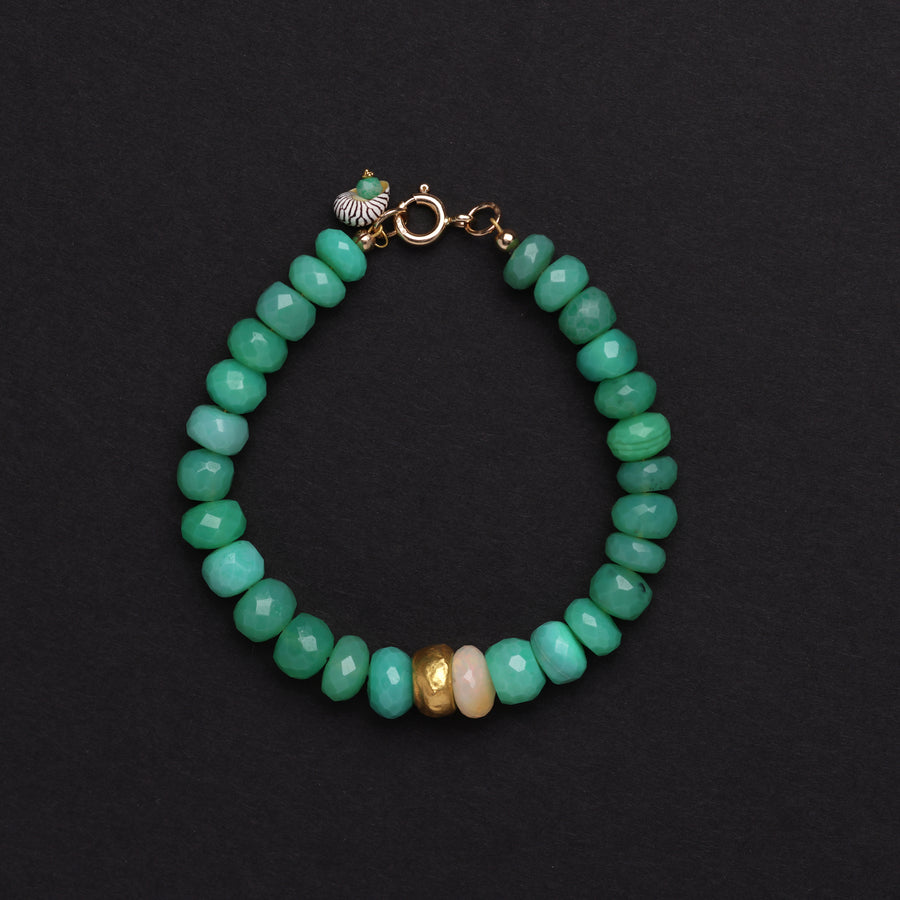 Chrysoprase gold and opal bracelet