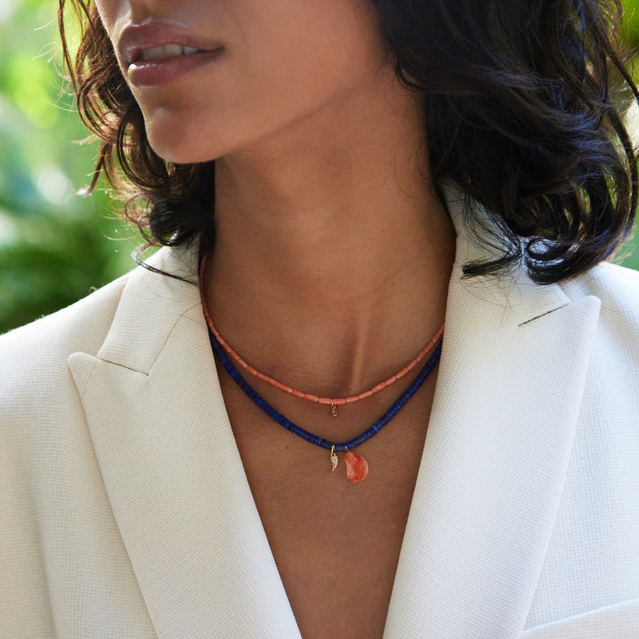 coral and sapphire necklace