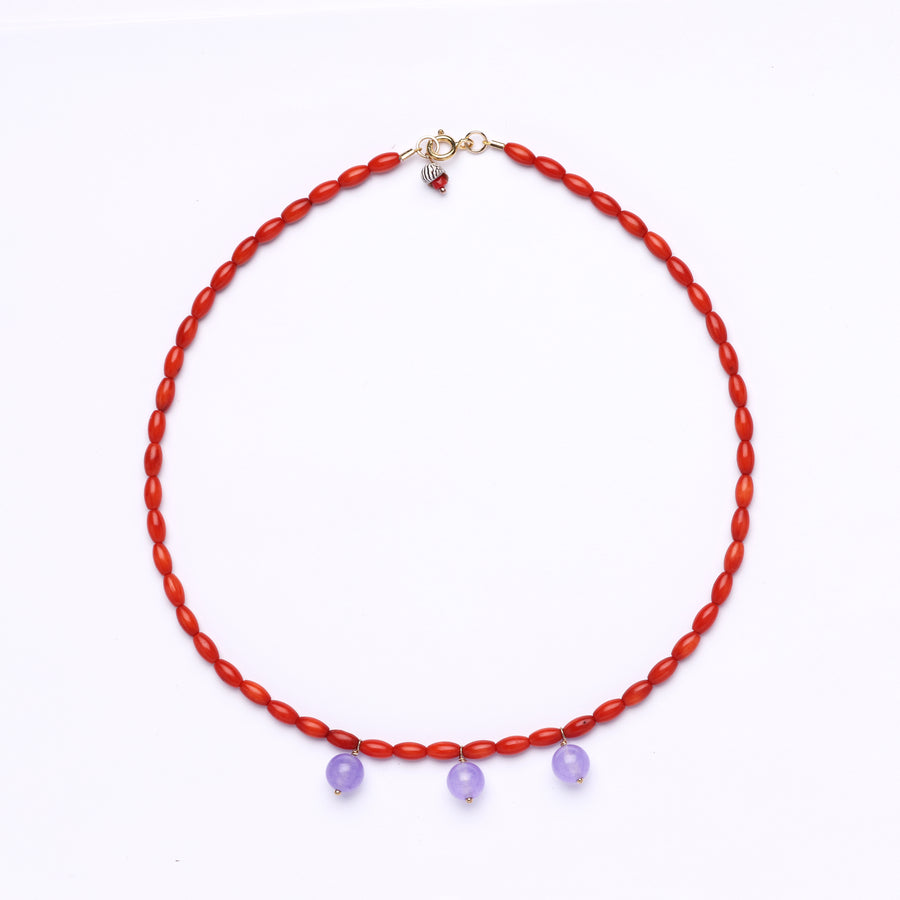 Coral and Purple Chalcedony Bocce Necklace (red)