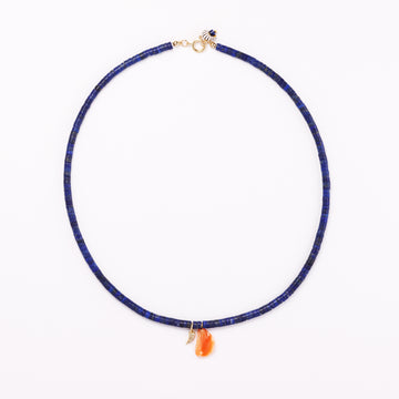 Lapis, Diamond and coral necklace