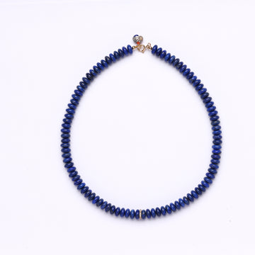 Lapis lazuli and diamond bead necklace