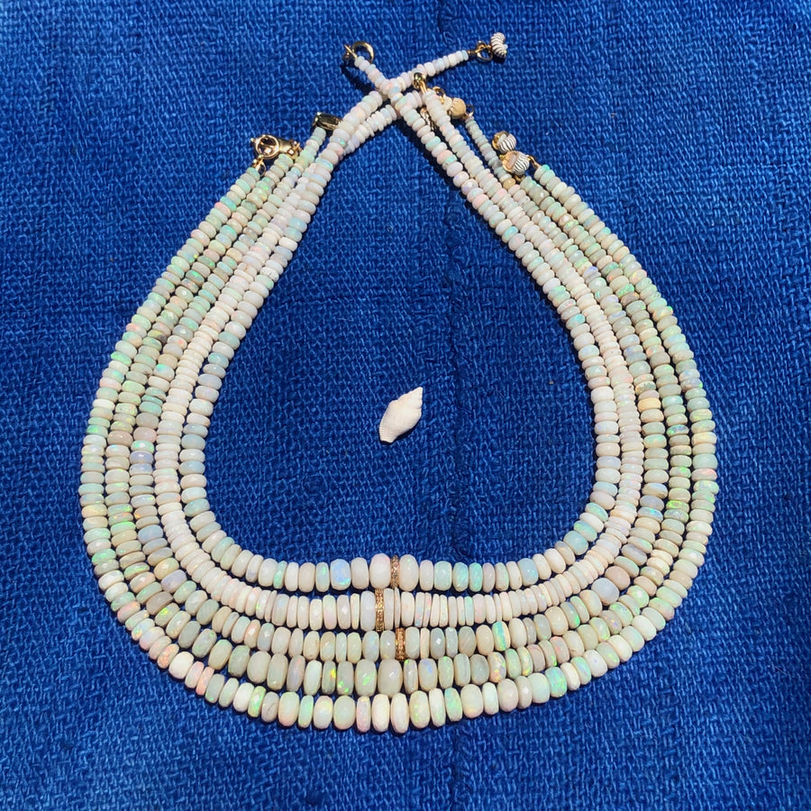 Australian Opal and Diamond Necklace ( White-Blue Flash)