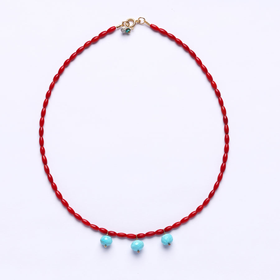 Coral and turquoise bocce necklace